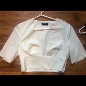 Nasty gal crop top shirt, white